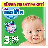 Molfix 3D Bebek Bezi Midi 3 Beden, Super Fırsat Paketi 94 Adet
