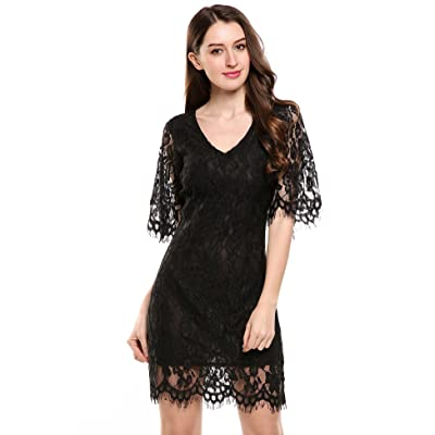 ACEVOG Women's Floral Lace Back Hollow Out V Neck Half Flare Sleeve Vintage Cocktail Party Dress