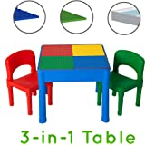Kids Activity Table Set - 3 in 1 Water Table, Craft Table and Building Brick Table with Storage - Includes 2 Chairs and 25 Jumbo Bricks - Primary Colors