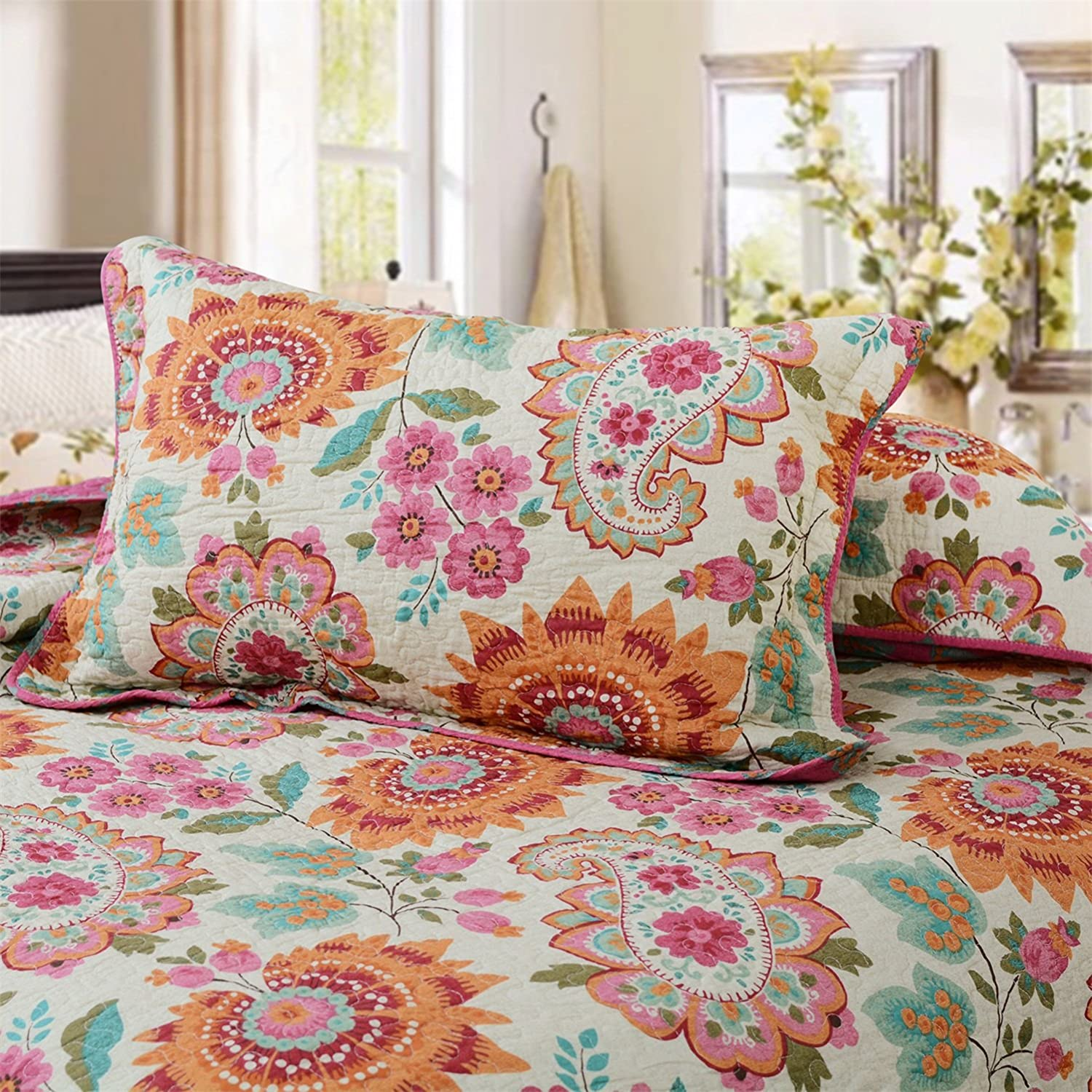 Brandream Bohemian Bedding Sets Boho Style Comforter Sets 100% Cotton Quilts Queen Size Bedspreads