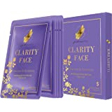Fast Beauty Clarity Box Detoxifying Gold Floral Face Sheet Masks With Charcoal & Rosemary, 5Count