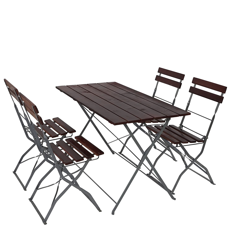LD 4X Tisch + 2X Stuhl Biergarten-Garnitur Garten-Garnitur
