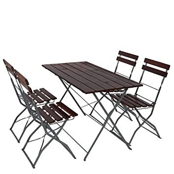 Salon de jardin/brasserie 1 table 4 chaises Berlin, pliable, bois ...