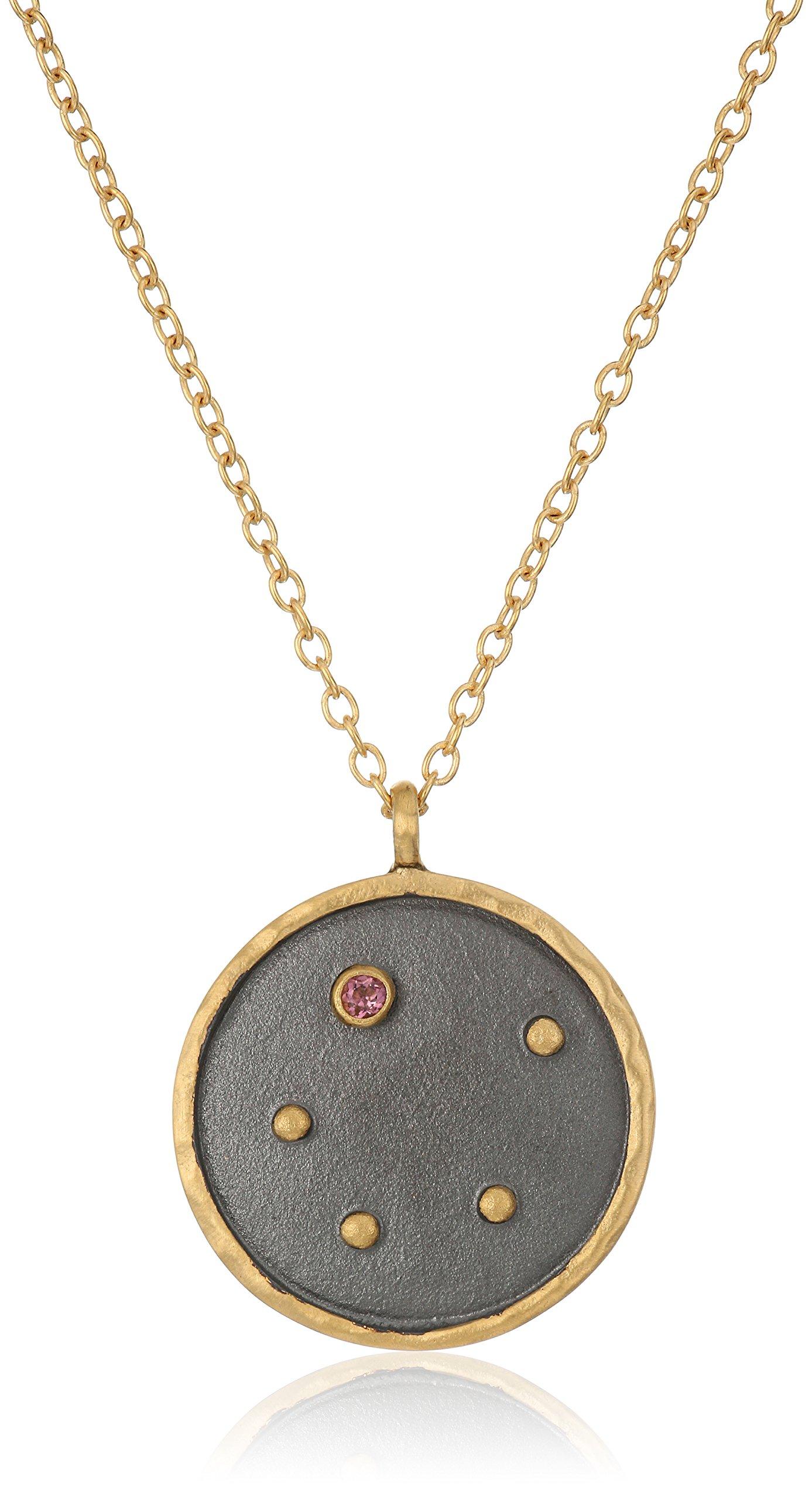 Satya Jewelry Zodiac Gold-Plated Tourmaline Libra Constellation Necklace (18-Inch)