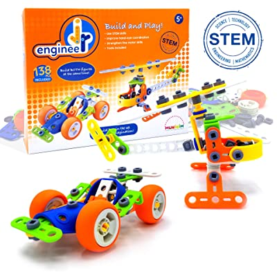 MUKIKIM Jr. Engineer - Car & Copter | Junior Educational Stem Learning Construction Set for Boys & Girls 5+ Years | 2-in-1 138Piece Creative Engineer Set (Tools Included), Build Both Simultaneously!: Toys & Games