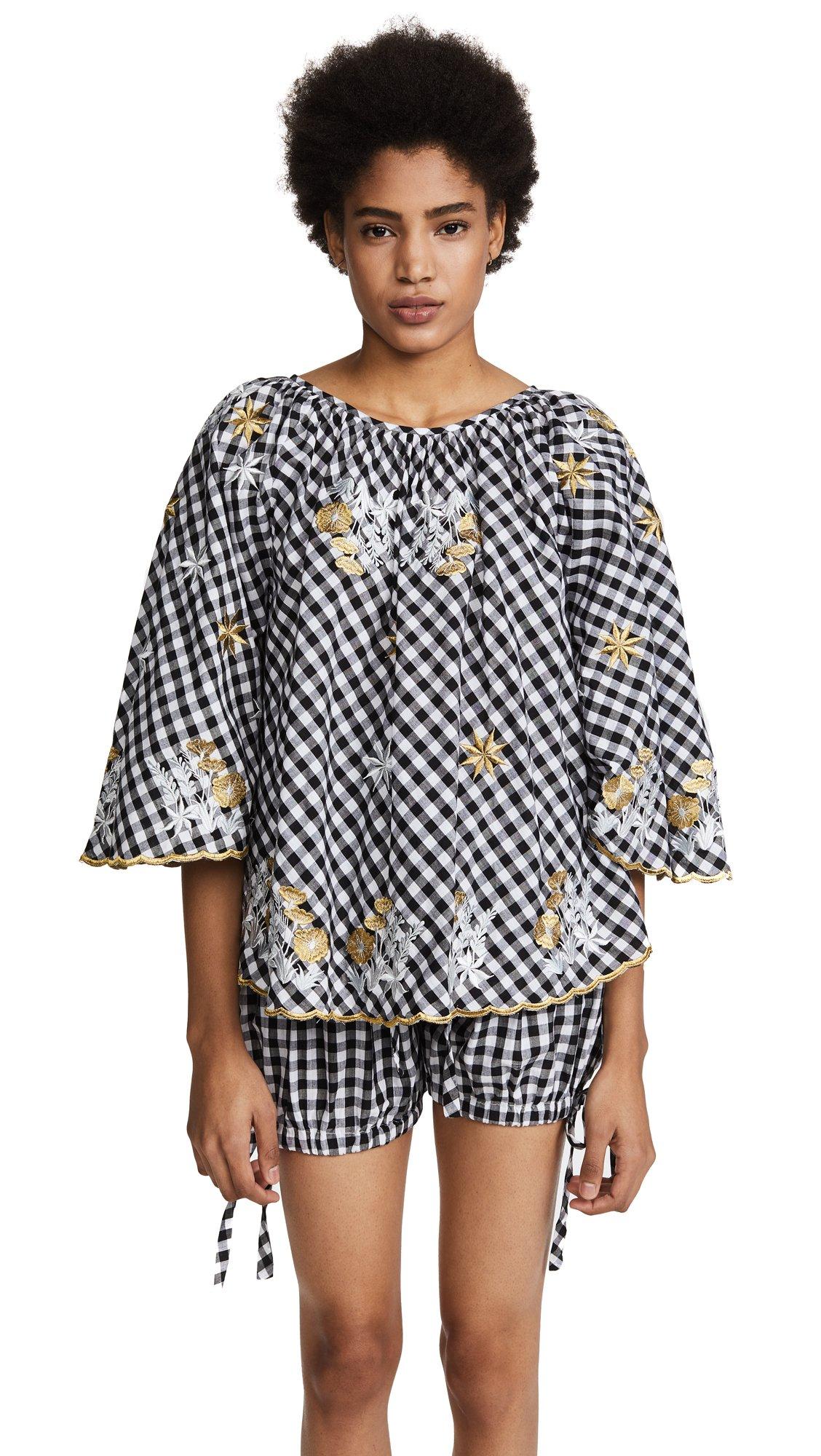 Innika Choo Women's Gingham Bell Sleeve Crop Top, Black, One Size