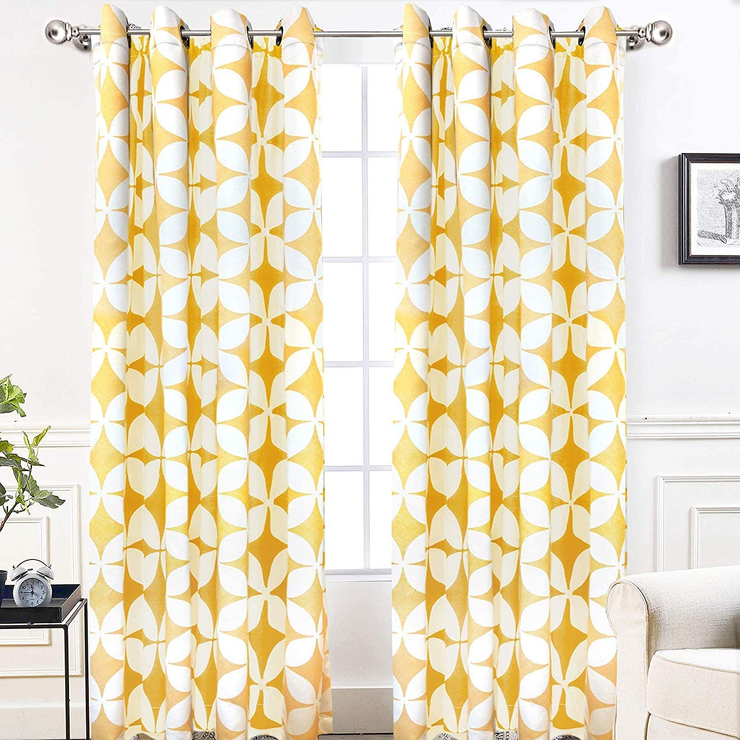 Amazon Com Driftaway Amelia Thermal Blackout Room Darkening Grommet Window Curtains Retro Geo Pattern Round Circle Star Print Set Of 2 Panels Each 52 Inch By 84 Inch Yellow Home Kitchen