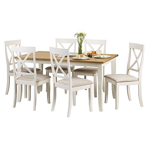 Julian Bowen Davenport Rectangular Table And 6 Chairs, Wood, Ivory/Light Oak