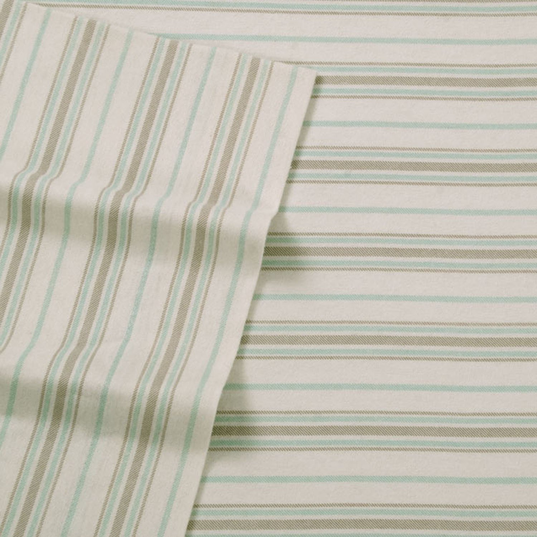 American HomesWilshire Hill Cotton Flannel Printed Thin Twill Stripe Sheet Set King Aqua//Taupe