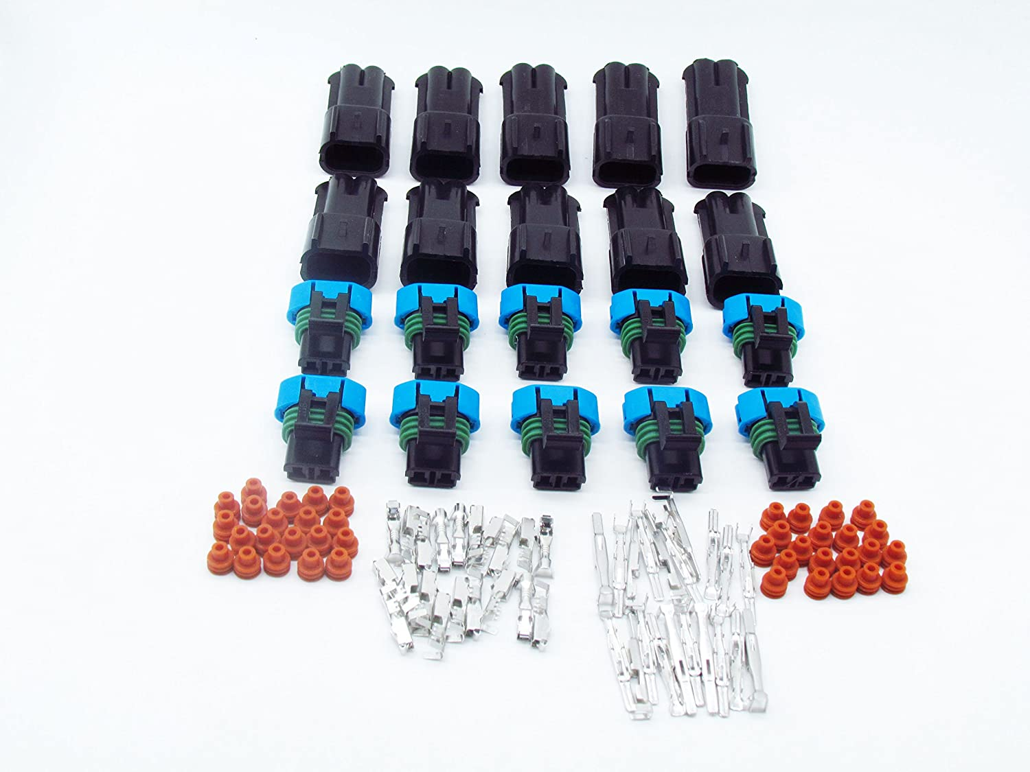 CNKF 10 Sets 2 Way Male and female 280 Metri-pack Connector Includes Terminals and Seals for FORD LINCOLN MERCURY 3U2Z-14S411-GEA /15300027 kaifa elec