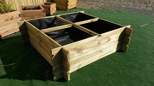 Bancal, 100 x 100 x 30 madera ranuras Sistema hierbas Bancal ...