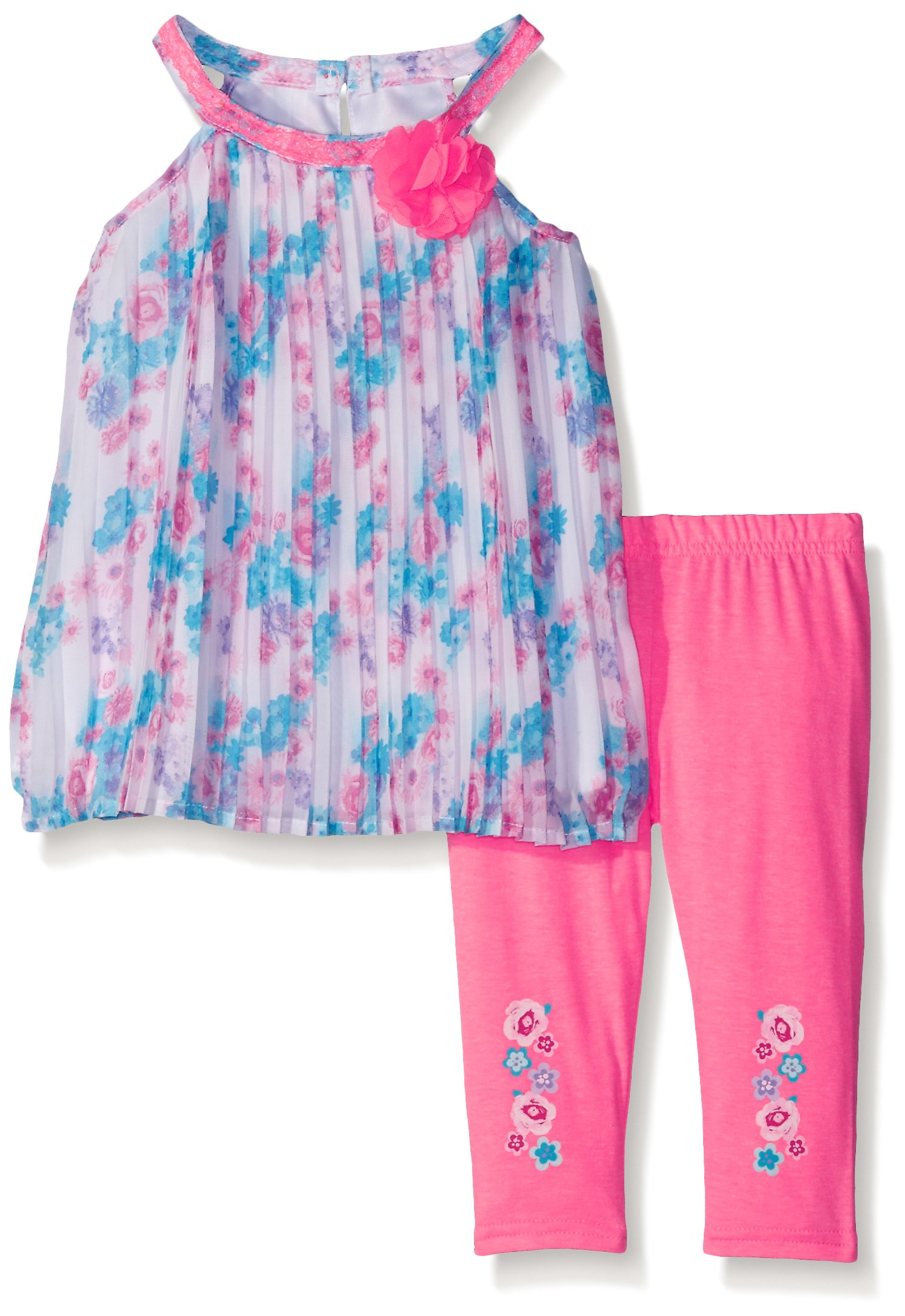 Nannette Little Girls' Toddler 2 Piece Printed Pleated Chiffon Legging Set, Pink, 4T