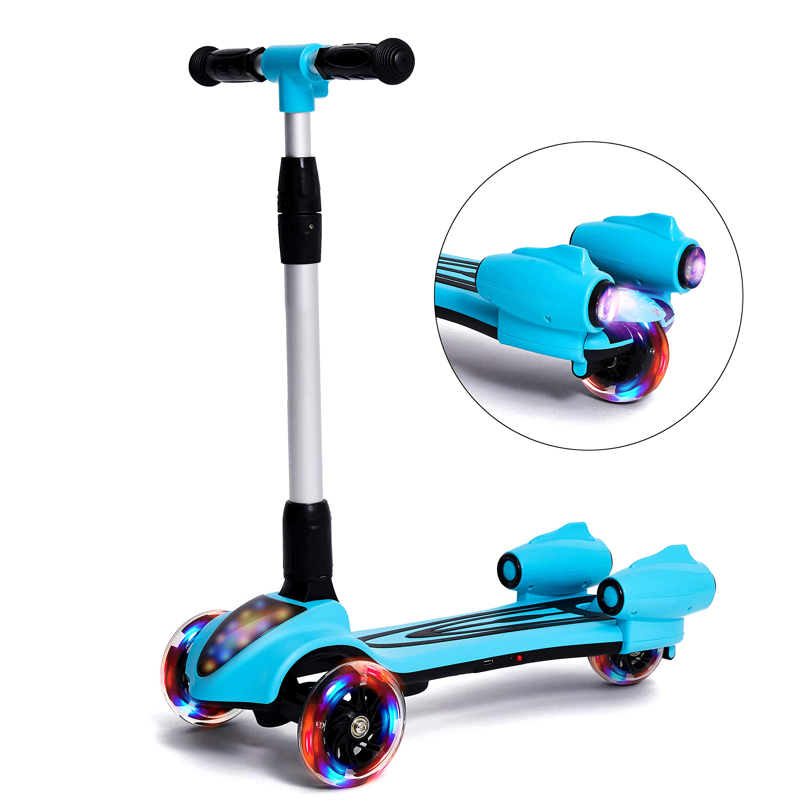 MammyGol Scooters for Kids 3 Wheel Kick Scooter,Folding LED Spray Jet Scooter with Adjustable Height,Flashing PU Wheels and Lean to Steer,Best Gifts for Children Age 3-8 Years Old Blue by MammyGol