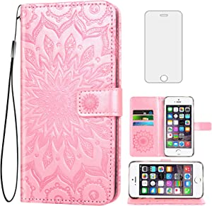Phone Case for iPhone SE (2016 Edition), iPhone 5S/5 Wallet Cases with Tempered Glass Screen Protector Leather Flip Cover Card Holder Stand Cell Accessories 5SE i 6SE iPhone5 iPhone5s Women Rose Gold