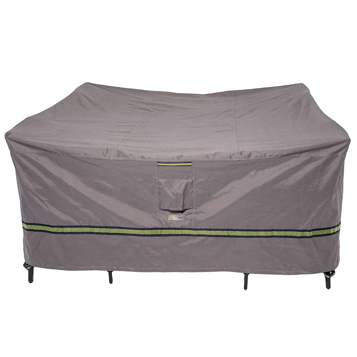 "Duck Covers Soteria Rainproof 76"" Long Square Patio Table with Chairs Cover"