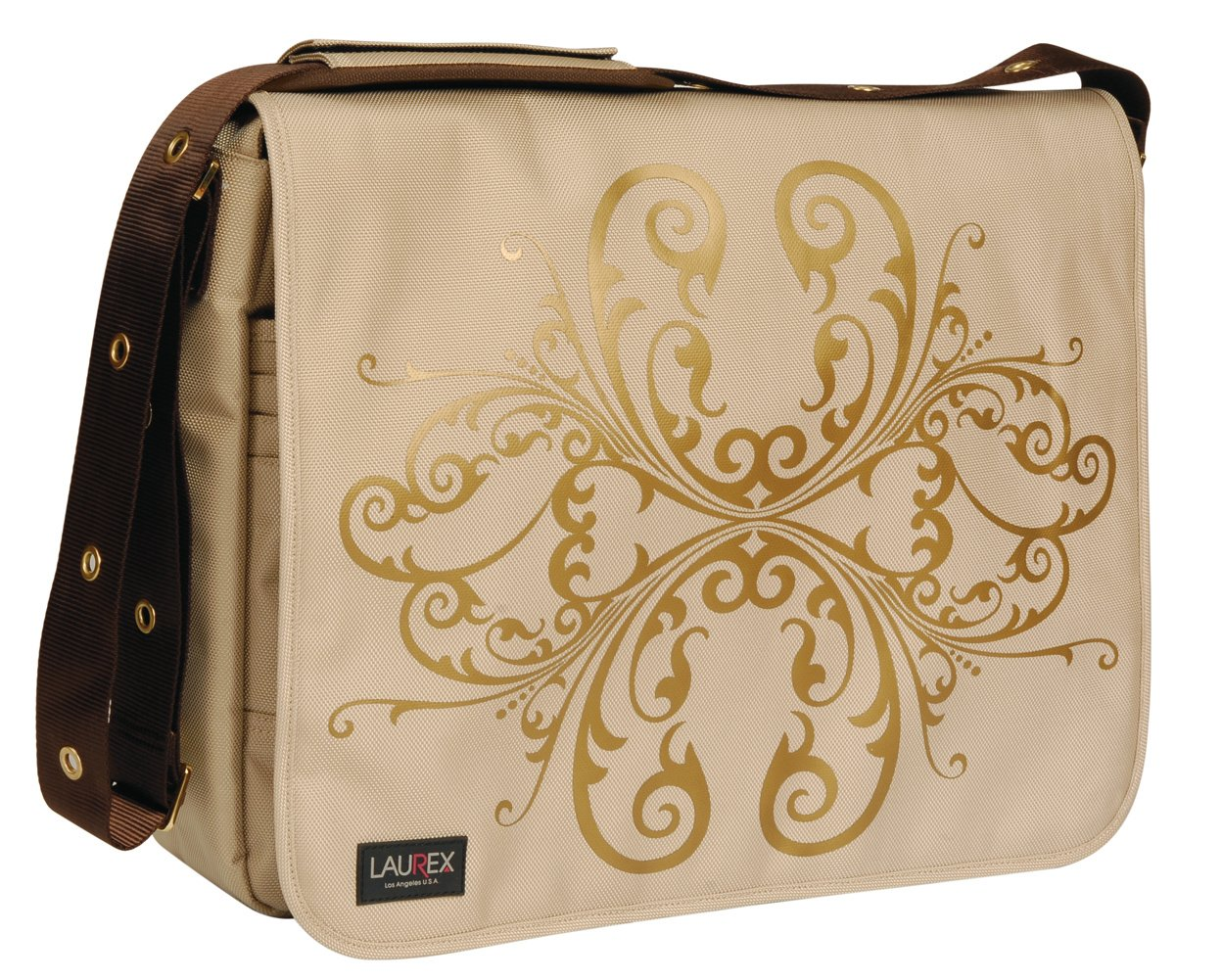 Beige One Size. Laurex Large Laptop Messenger Bag Beige Bloom