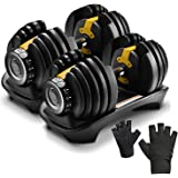 MRG 可変式 ダンベル 24kg トレーニング グローブ セット アジャスタブルダンベル 2.5~24kg 15段階調節 可変ダンベル トレーニンググローブ付き [1年保証]
