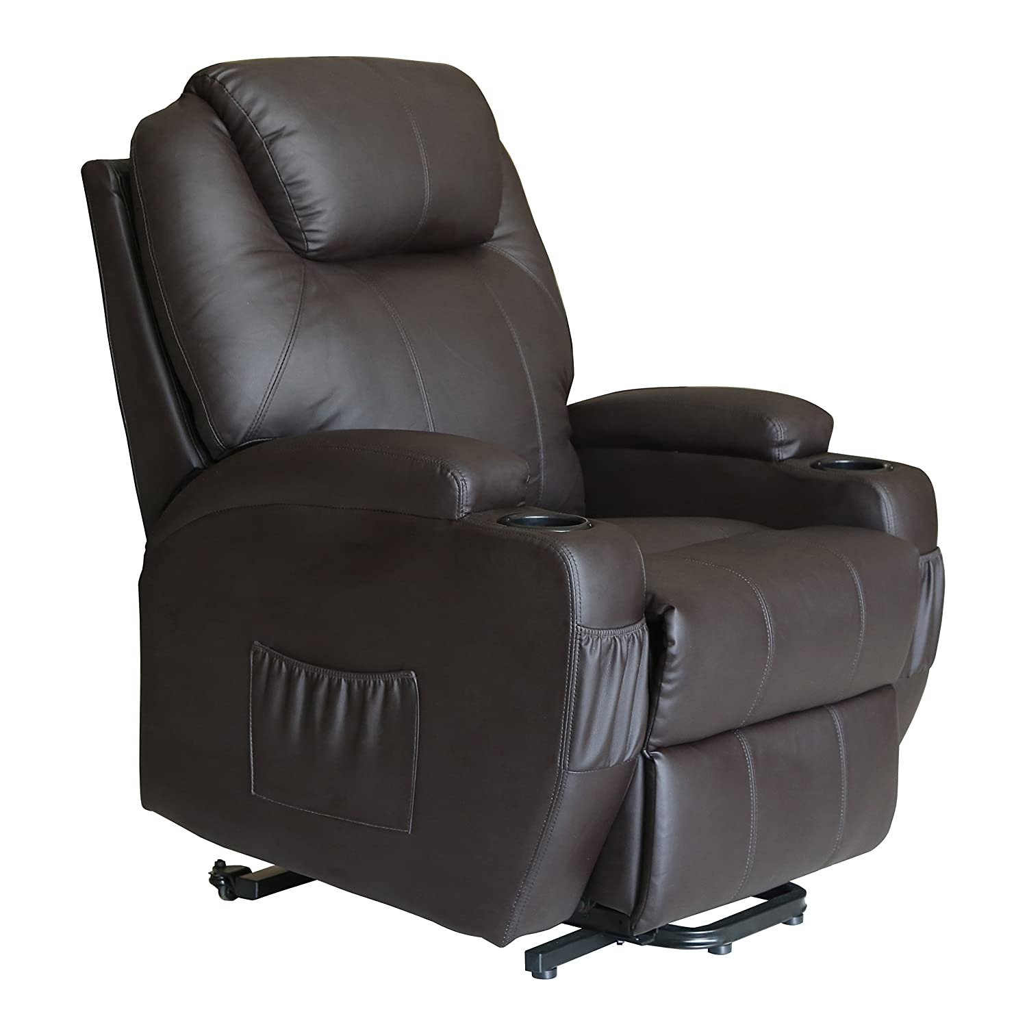 Amazon com  MAGIC UNION Deluxe Wall Hugger Power Lift Heated Vibrating  Massage Recliner Chair with Wheels   Brown  Kitchen   Dining. Amazon com  MAGIC UNION Deluxe Wall Hugger Power Lift Heated