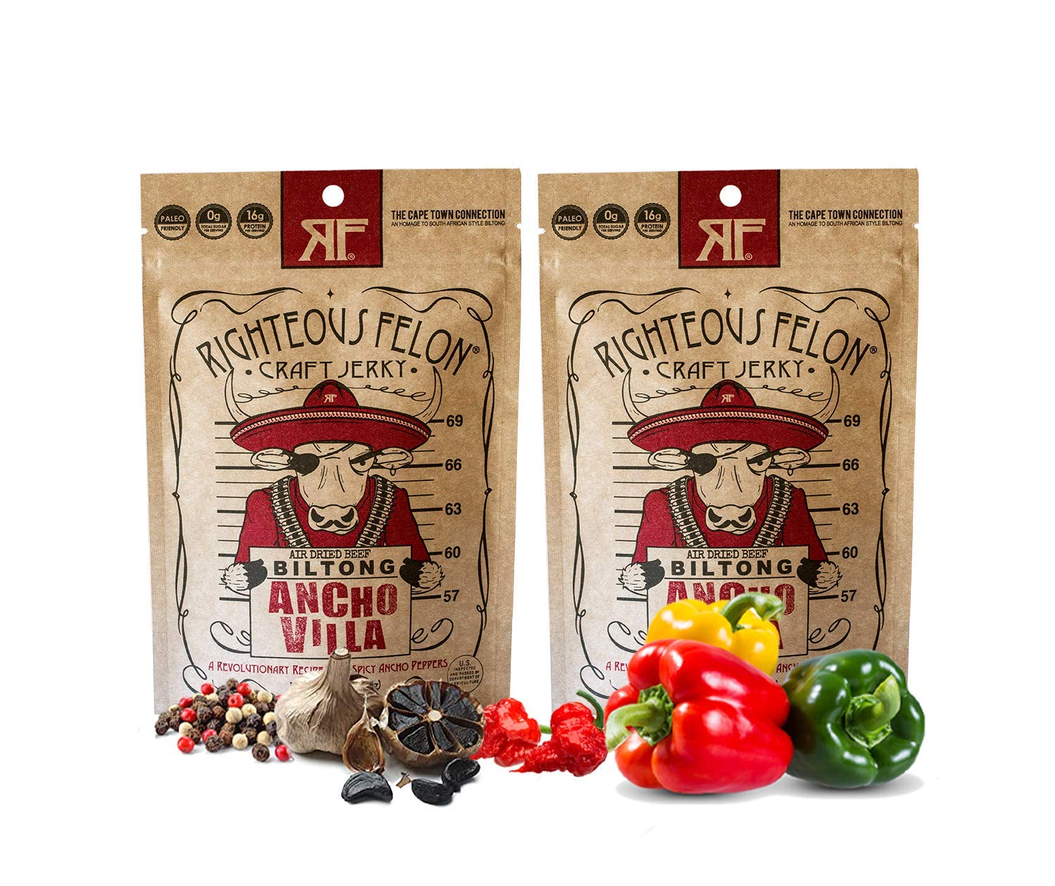 Righteous Felon Ancho Villa Biltong Beef Jerky | Keto, Paleo, Gluten Free, High Protein | Hormone Free All Natural South African Style Biltong, No Artificial Flavors or Preservatives, Low Carb Antibiotics | 2 Count (2oz bags)