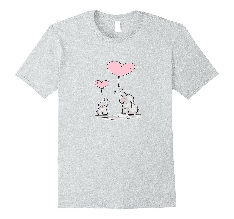 Cute Baby Mom Elephant Pink Heart Balloons T-shirt-AZP - anzpets 34ac79b76