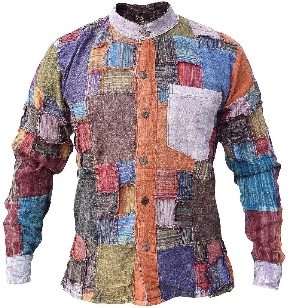Little Kathmandu da uomo Griglia Patchwork maniche lunghe in cotone casual Grandad Collarless Shirt Tops Kurtas