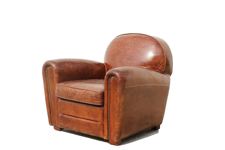 Amazon.com: Pasargad Paris Club Chair Genuine Top Grain Leather: Kitchen U0026  Dining