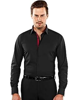 Vincenzo Boretti Herren-Hemd bügelfrei 100% Baumwolle Slim-fit tailliert Uni -Farben 61cfa73264