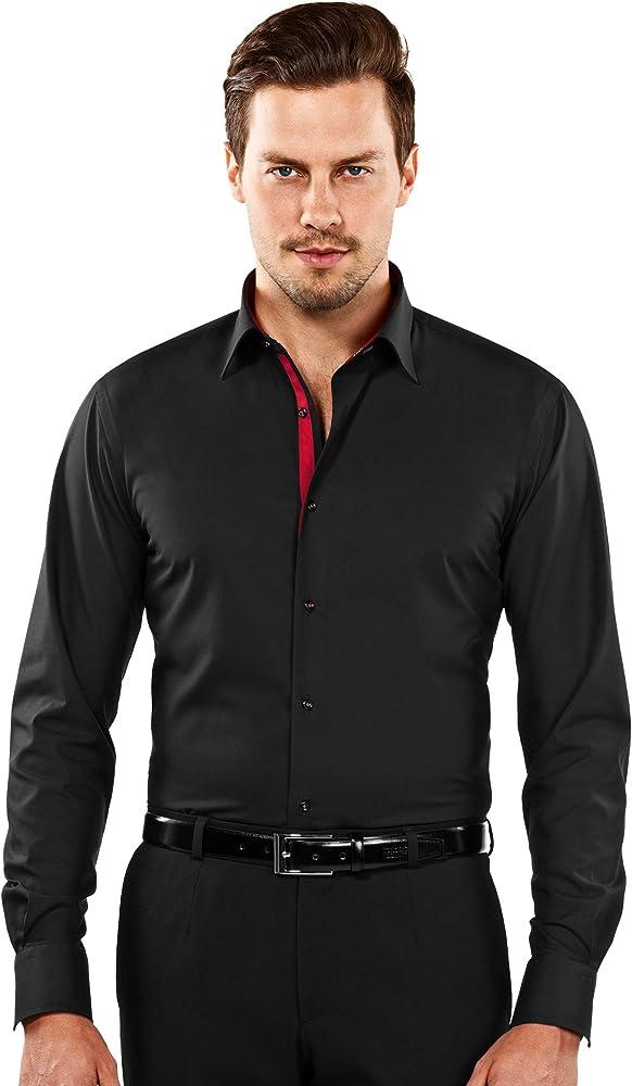 Vincenzo Boretti Camisa de Hombre, Ajustada Entallada (Slim-fit), 100% algodón, Manga-Larga, Cuello Kent, con entredós Interior en Color contrastante - no Necesita Plancha 37/38: Amazon.es: Ropa y accesorios