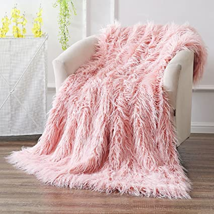 amazon com ojia super soft fuzzy shaggy mongolian lamb throw