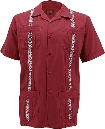 vkwear Guayabera - Camisa de Vestir para Hombre, Estilo Cubano, de Manga Corta, con Botones - Rojo - 3X-Large: Amazon.es: Ropa y accesorios