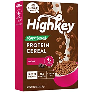 HighKey Plant Based Protein Cereal - Keto Breakfast Low Net Carb & Zero Sugar Low Carb Snacks Gluten Free Foods Vegan Cold Cereals Paleo Snack Ketogenic Diet Friendly Muesli Cocoa
