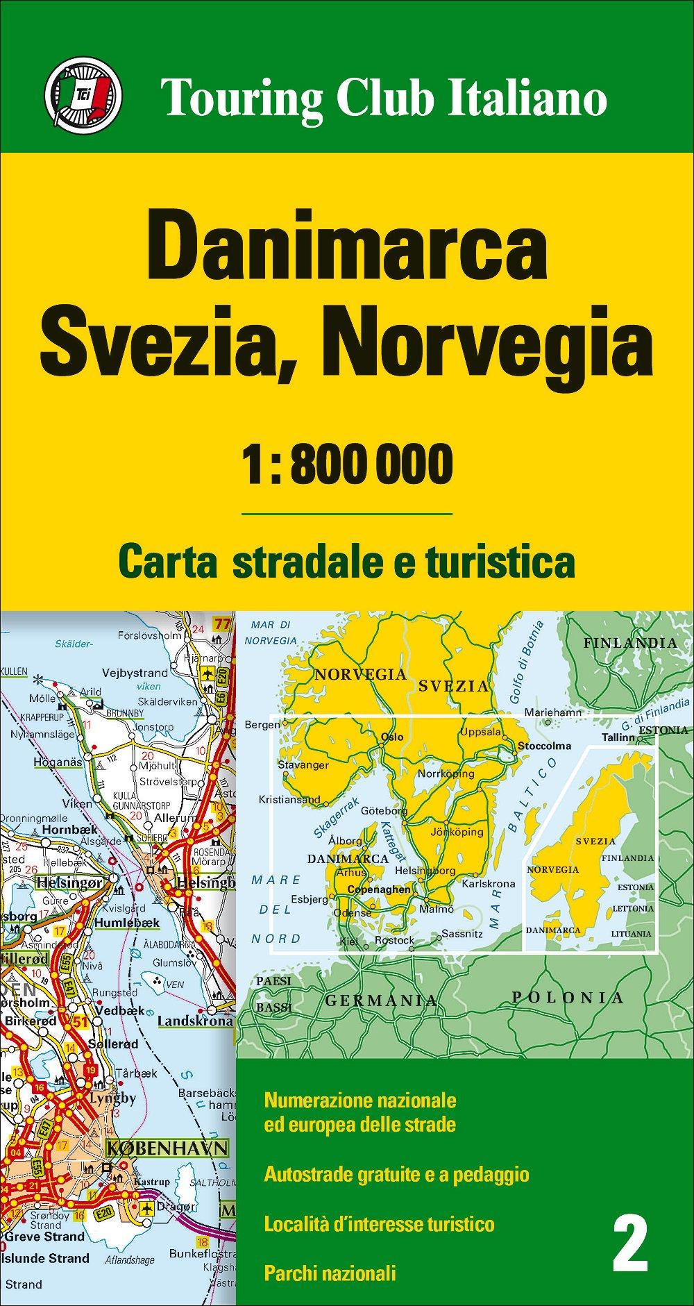 Cartina Stradale Norvegia.Amazon It Danimarca Svezia Norvegia 1 800 000 Carta Stradale E