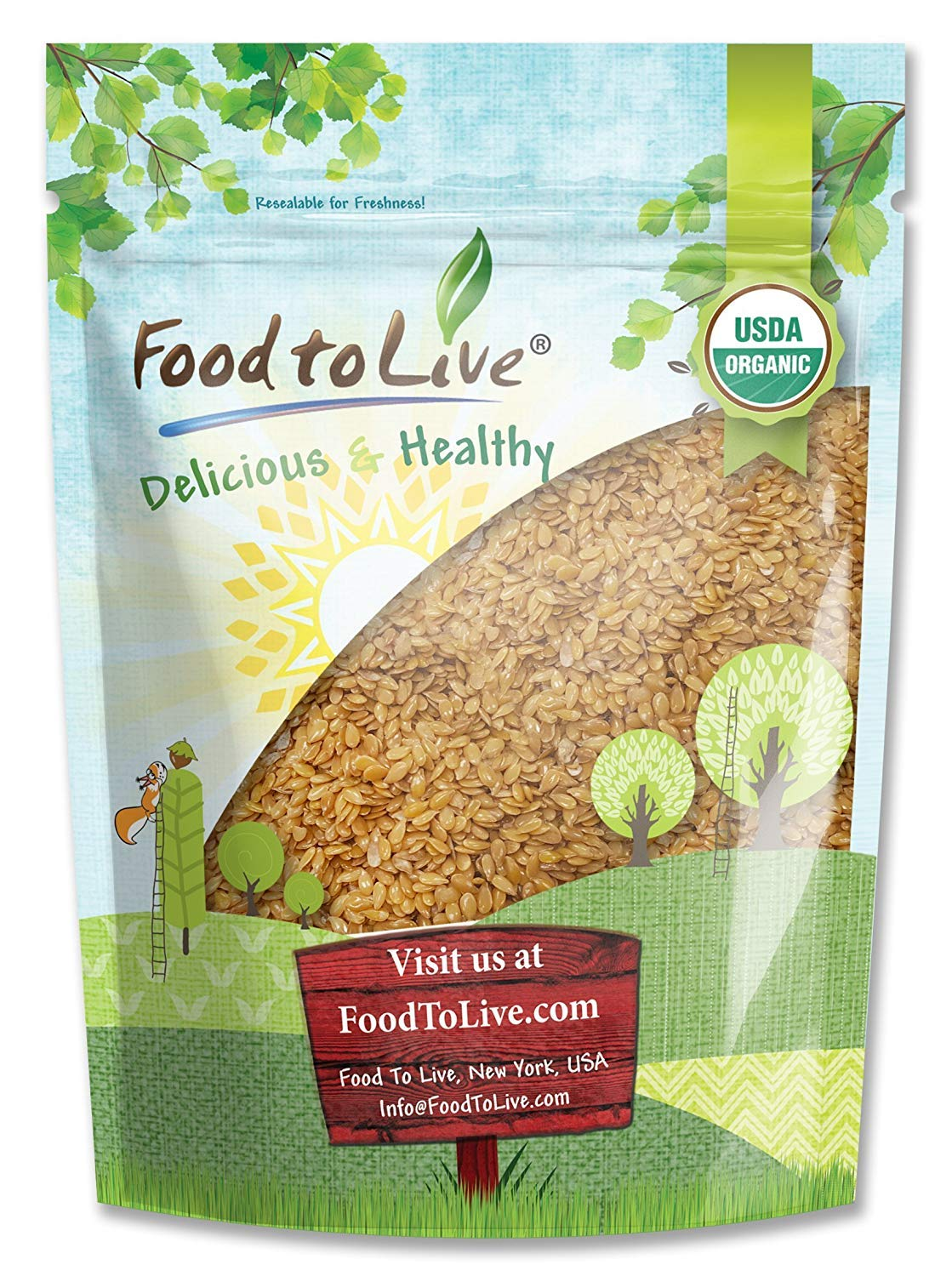 Organic Golden Flaxseed (Whole, Raw, Non-GMO, Kosher, Bulk) by Food to live — 2 Pounds