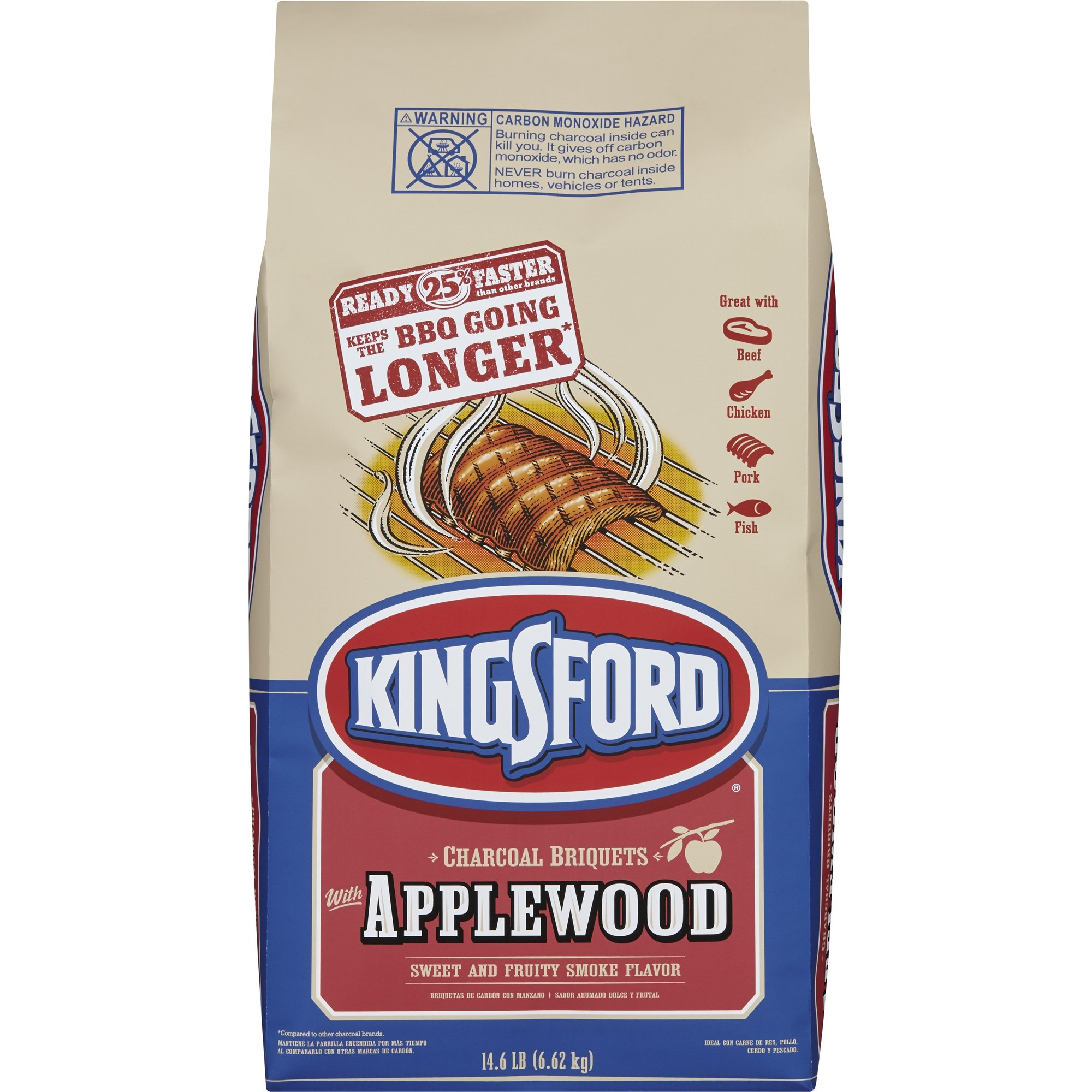 Kingsford Charcoal Briquettes with Applewood, 14.6 Pounds PACK OF 3