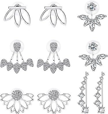 Lotus Girl Jewelry Alloy Ear Stud Stone Flower Hollow Stud Earrings Earrings