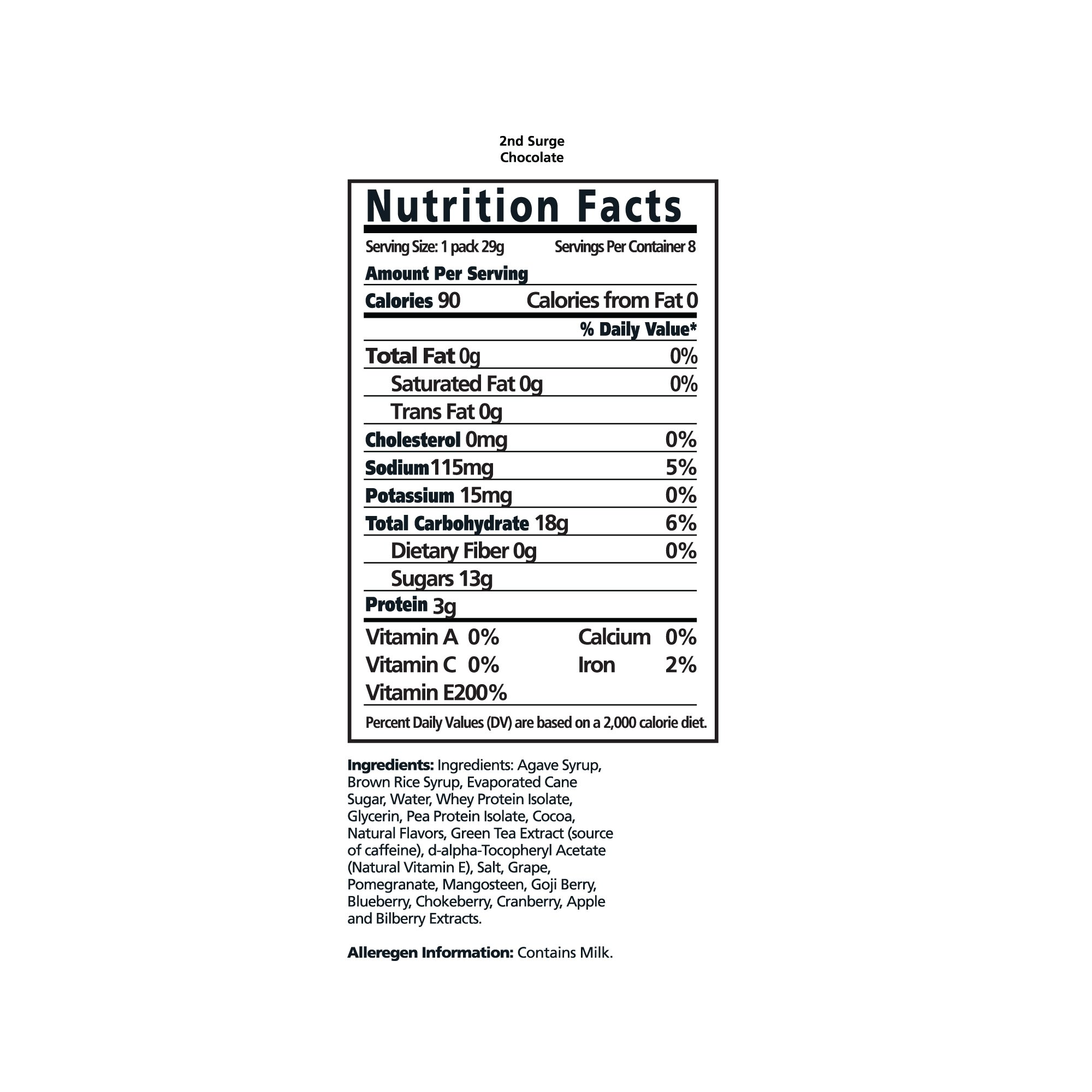 PacificHealth 2nd Surge All Natural Ultra Energy Gel - Box of 8, 1.02-Ounce Packets (Chocolate) by 2nd Surge