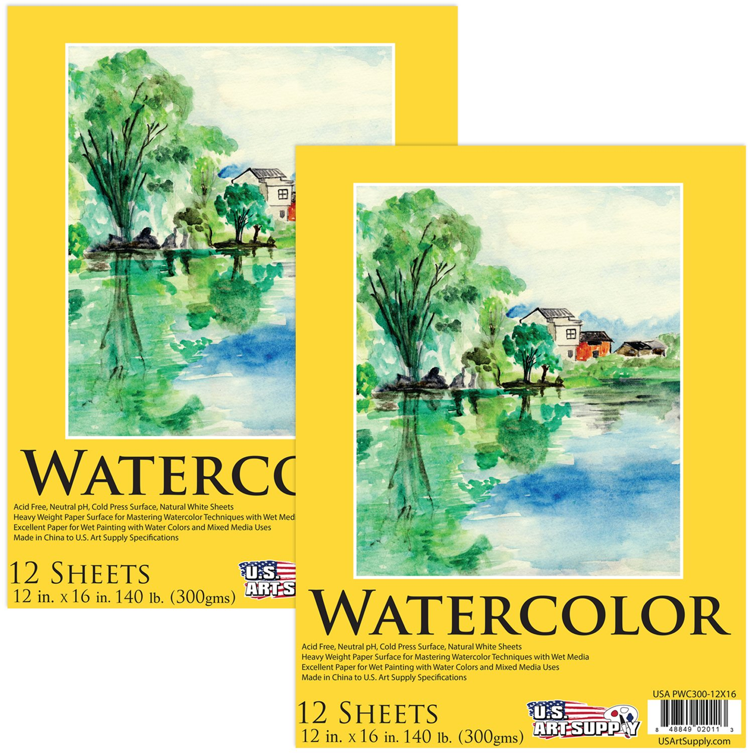 U.S. Art Supply 12'' x 16'' Premium Heavy-Weight Watercolor Painting Paper Pad, 140 Pound (300gsm), Pad of 12-Sheets (Pack of 2 Pads) by US Art Supply