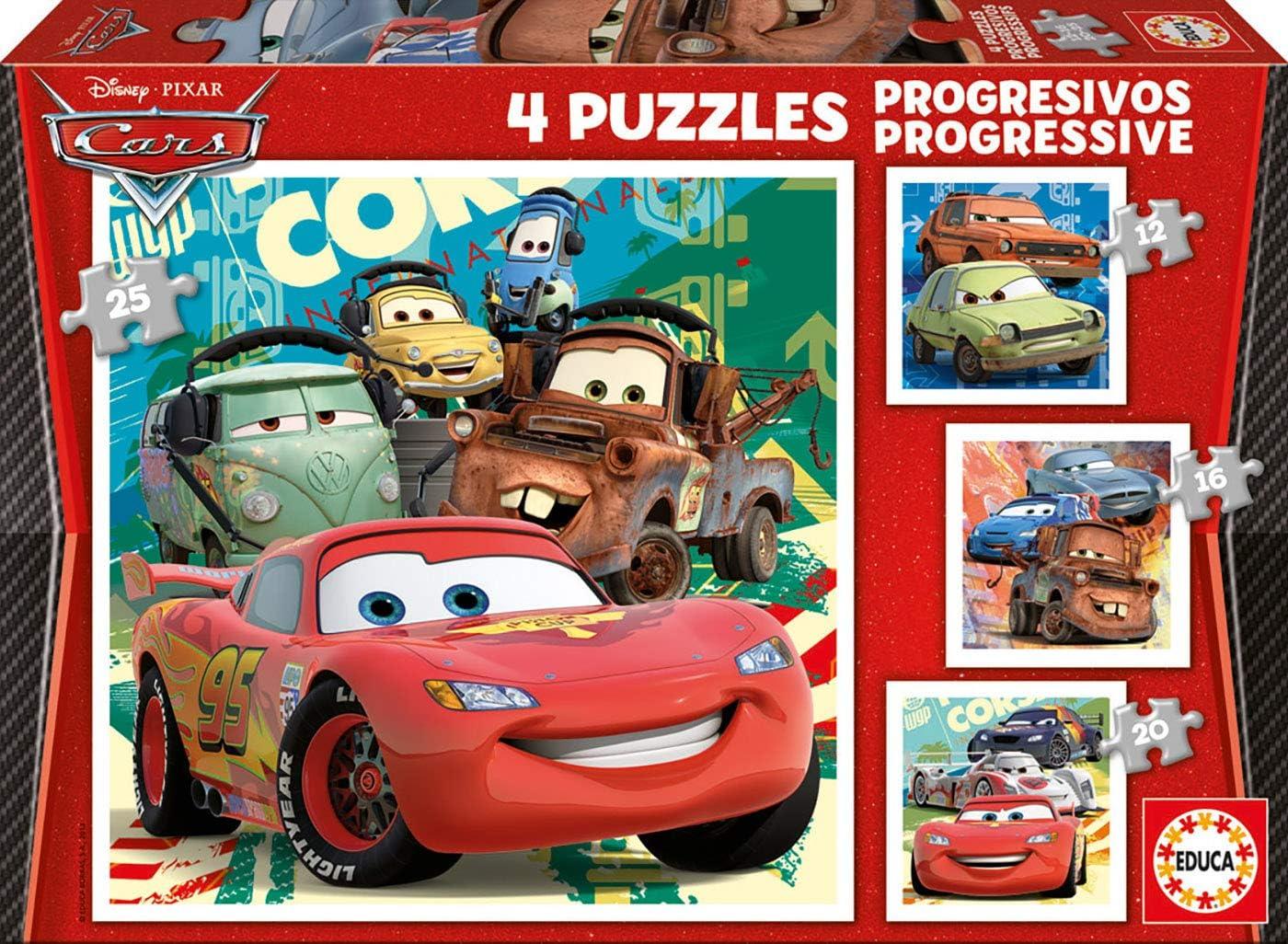Educa - Puzzles Progresivos, puzzle infantil Cars 2 de 12,16,20 y 25 piezas, a partir de 3 años (14942)