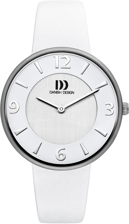 Women'Danish Design Herren Armbanduhr Analog Leder weiß DZ120194 Gurt