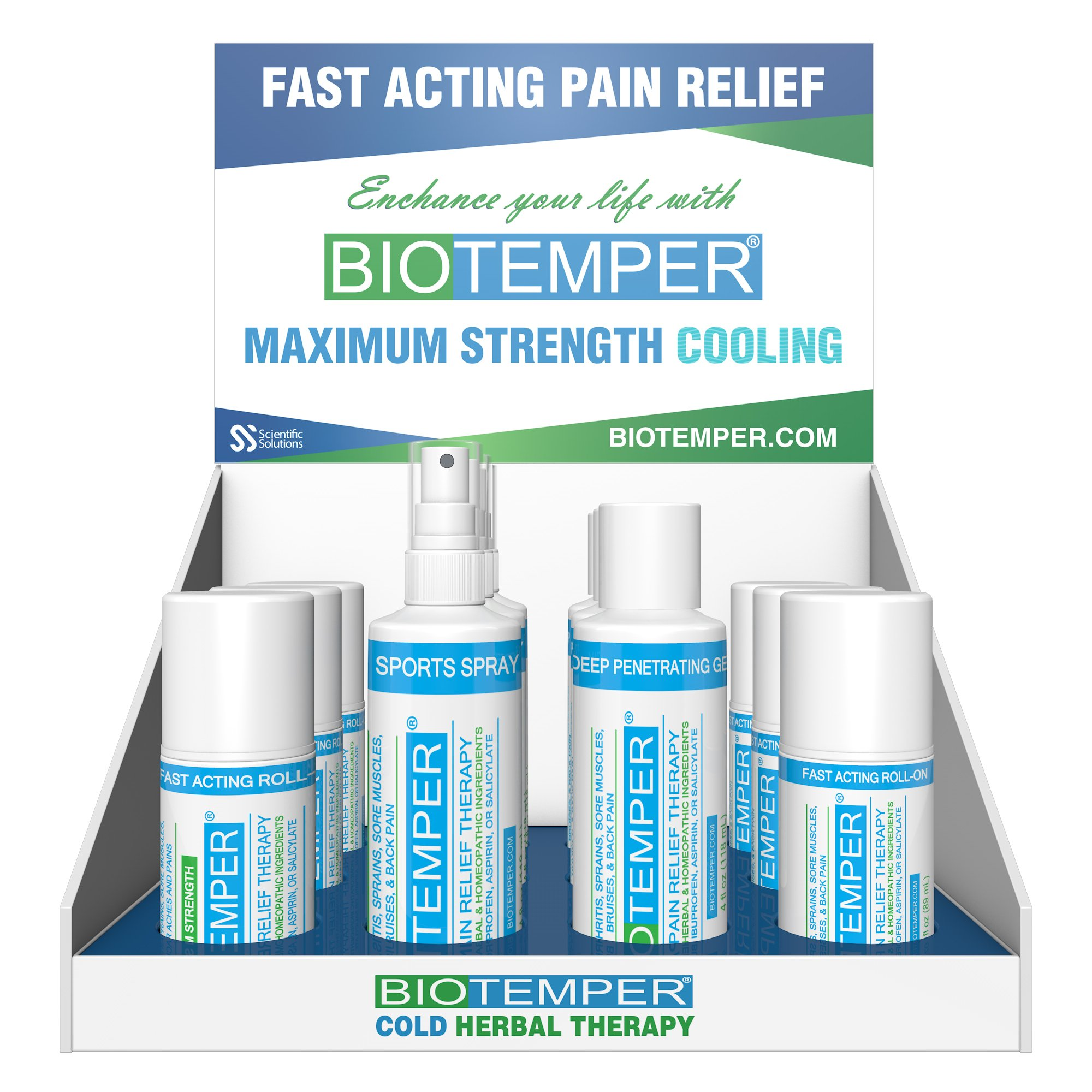 BioTemper Pain Reliever Display Kit, 4 oz. Spray/ 4oz. Tube/ 3 oz. Roll-on, For Fibromyalgia, Plantar Fasciitis, Arthritis, Back Pain, Sciatica, Chronic Pain, Joint and Muscle Pain Relief
