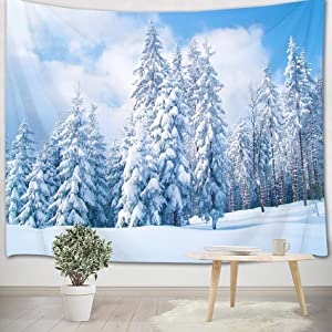 HVEST Winter Tapestry Snow Forest Tapestry Christmas Pine Forest White Snow Scene Tapestries Ice World Indie Room Decor Wall Hanging Blanket for Living Room Bedroom Dorm Party Decor,60X40Inches