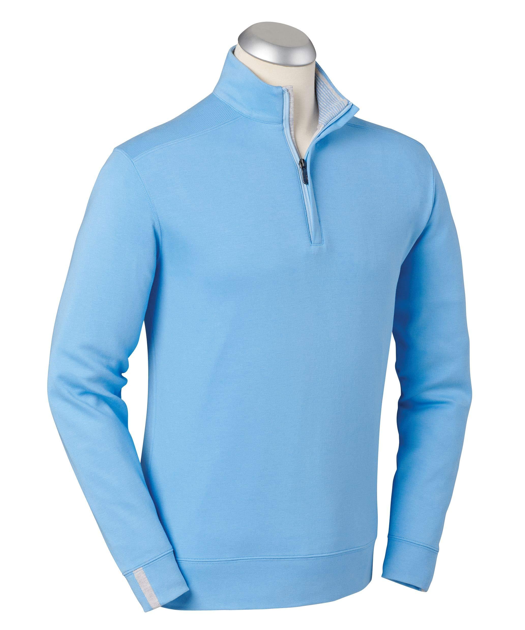 Bobby Jones Lux Pima Leaderboard Golf Pullover - Men's 1/4 Zip Pullover Golf Apparel Sky Blue by Bobby Jones