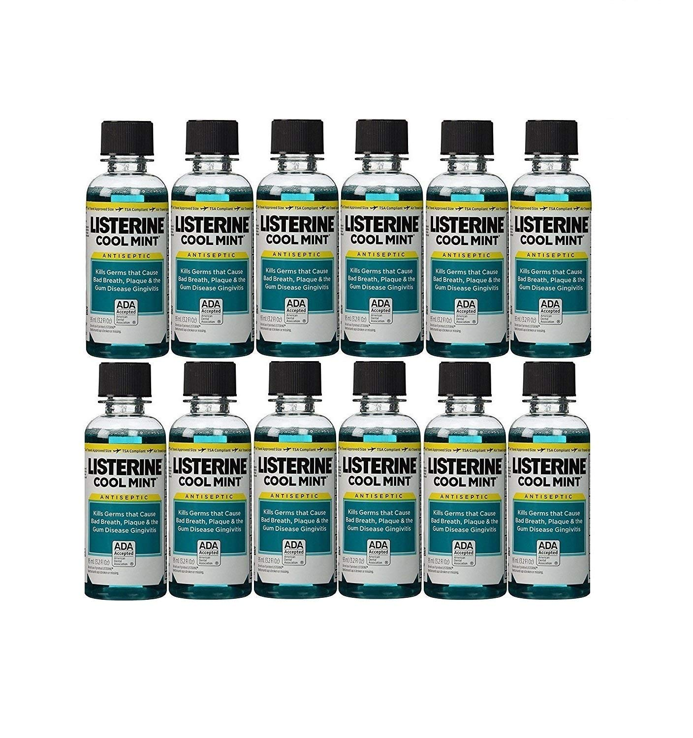 Listerine Cool Mint Antiseptic Mouthwash for Bad Breath, Travel Size 3.2 oz - Pack of 12