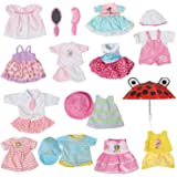Set of 12 Handmade Baby Doll Clothes Dress Outfits Costumes For 14-16 Inch Dolly Pretty Doll Cloth Hat Cap Umbrella Mirror Comb Girl Christmas Birthday Gift