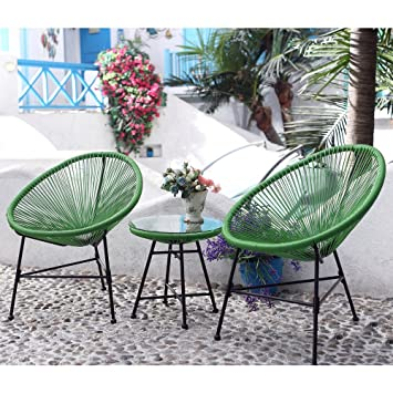 Salon de jardin fil scoubidou résine tendue 2 fauteuils et table ...