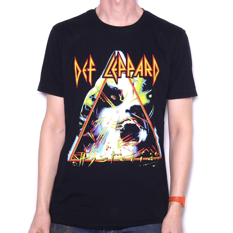 aba6a0f5da5 Amazon.com  Old Skool Hoooligans Black Def Leppard T Shirt - Hysteria 100%  Official  Clothing