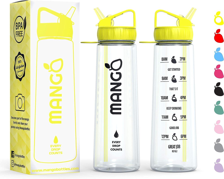 Mango Sports Motivational Waterfles met stro en tijden om te