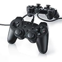 CSL - 2 x Gamepad für Playstation 2 / PS2 mit Dual Vibration - Joypad Controller | neues Modell | schwarz