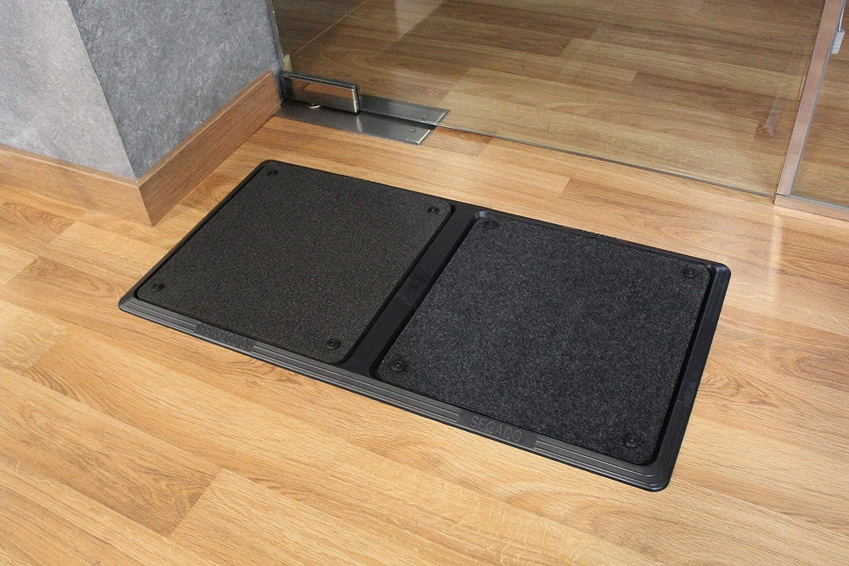 Alfombra Felpudo desinfectante con dos compartimentos separados para desinfectar los zapatos en los accesos. Tamaño (80 de largo * 40 cms de ancho): Amazon.es: Salud y cuidado personal