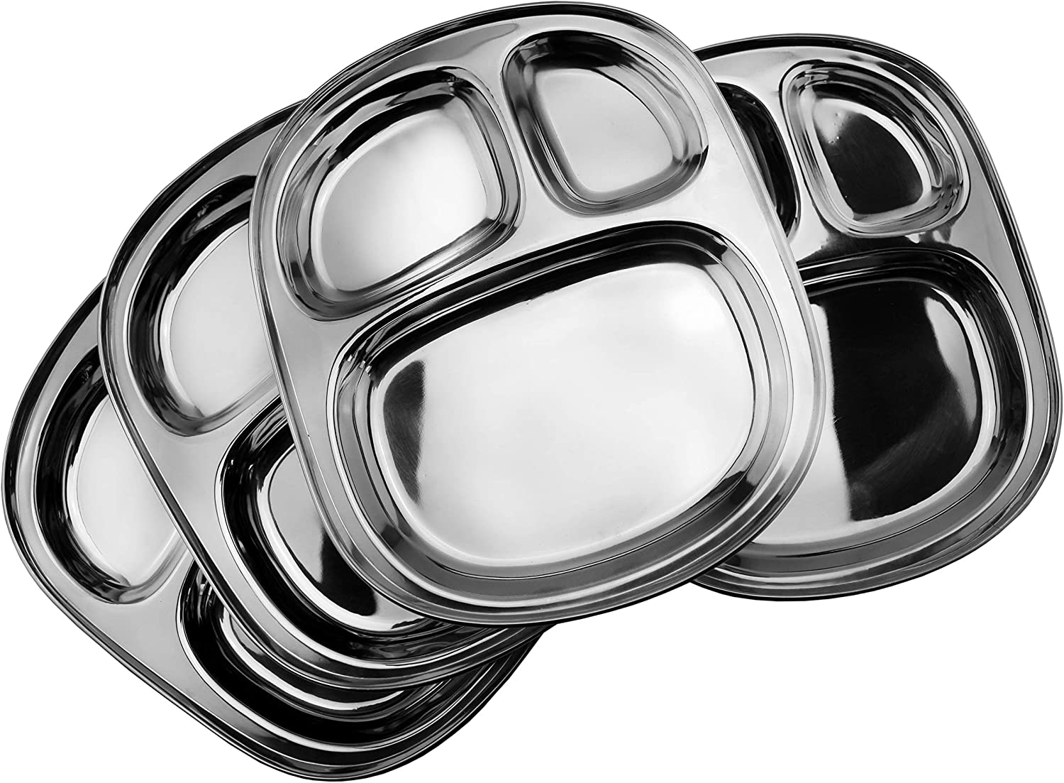 Stainless Steel Divided Plates/Compartment Trays (4-Pack); 9.8 x 8.1 Inches Oblong 3-Section Mini Mess Trays, Great Size for Lunches, Kids, Portion Control, Camping & More